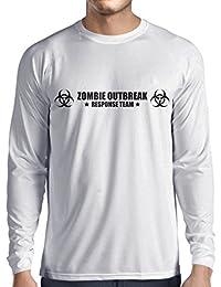 lepni.me Long Sleeve t Shirt Men Zombie Outbreak Response Team Logo, Defense Squad Graphic, Fighting The Living Dead Apocalypse