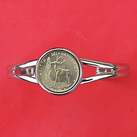 1970 Vatican 20 Lire BU Unc Coin Silver Plated Cuff Bracelet NEW - Red Deer Crowned Shield