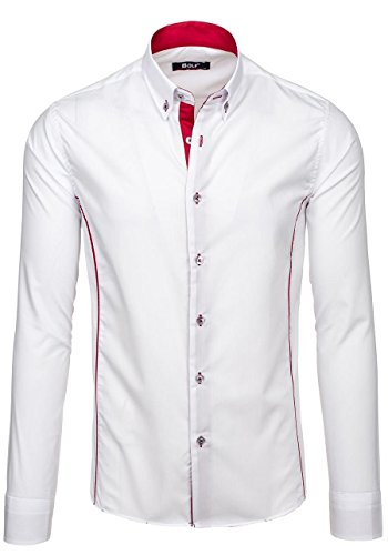 BOLF – Chemise – Manches longues – Casual – Classique – Slim fit – Homme [2B2] Blanc-Rouge