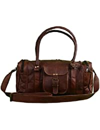 Anshika International Genuine Leather Travel Duffel Weekender Bag