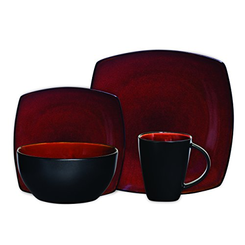 Gibson Elite 99813.16R Soho Lounge, 16-teiliges Geschirrset aus reaktiver Glasur, Waldgrün/Schwarz Soho, Lounge 16pc Red,Black Soho Square Bowl