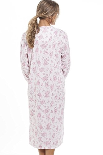 Camille - Chemise de nuit classique pour femme - manches longues - motif floral - rose blanc rose - blanc
