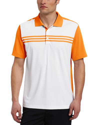 adidas Golf Herren Poloshirt Climacool 3-Streifen Color Block, Herren, White/Sunset, X-Large