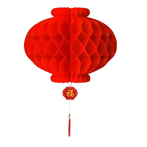 ACVIP Paquet de 10pc Lanterne Rouge en Papier Lampion Traditionnel Chinois Décoration pour la Fête Mariage (Diamètre: 30CM, Rouge)