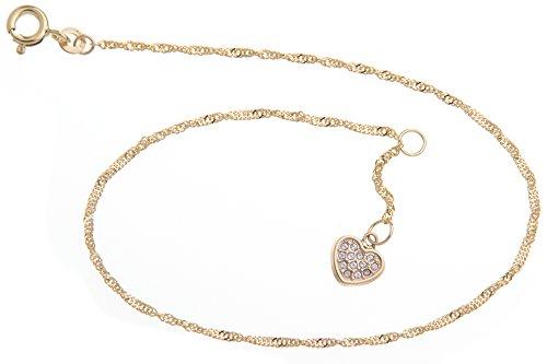 Silberketten Store Cavigliera Singapore con ciondolo forma di cuore 14 larghezza Lunghezza scelta 23 30 Vero oro 333