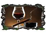 3D Wandtattoo Wein Glas Wisky Zigarre Tabak Kneipe Bar braun Wand Aufkleber Wanddurchbruch sticker...