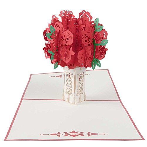 Hochzeitskarte Rosenstrauß, Hochzeitsgeschenke für Brautpaar, Valentinstag Karte, Geburtstagskarte, Muttertagskarte, Geldgeschenk, Muttertagsgeschenk, Geschenk für Mama, Pop Up Karte