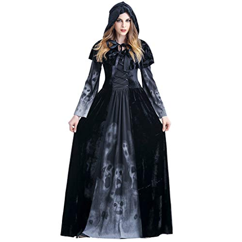 Riou Halloween Kostüm Damen Skeleton Vampir Hexe Cosplay Kostüm Mit Kapuze Umhang Vintage Maxi Kleid Karneval kostüm Faschingskostüme