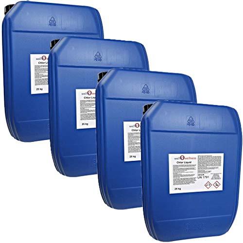 well2wellness Chlor flüssig stabilisiert/stabilisierte Chlorbleichlauge - 4 x 25 kg Kanister