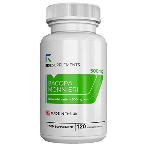 Bacopa Monnieri Cápsulas - 500 mg | Para Ayudar en el Aprendizaje y la Memoria | 120 Cápsulas Vegetarianas | SUMINISTRO DE HASTA 3 MESES | Fabricado en el Reino Unido en Instalaciones con Licencia ISO | Reembolso Garantizado (1 Botella)