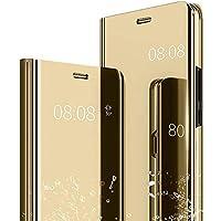 Caler iPhone XS/iPhone X Hülle Spiegel Cover Clear View Case Flip Schutzhülle handyhülle handyhuelle etui huelle Flip metallic Frau schal mit Tasche Ledertasche (Gold)