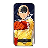 BEMAGIC Z 2018/Z2 Force Case,Flexible Slim Silicone TPU Protector Cover Soft Thin Gel Skin for Moto Z 2018/Z2 Force-One Punch Man - Saitama 1