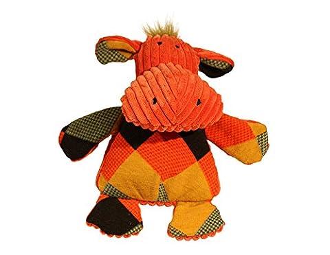 HuggleHounds Plush Corduroy Durable Squeaky Chubbie Buddies Hippo Dog Toy Large
