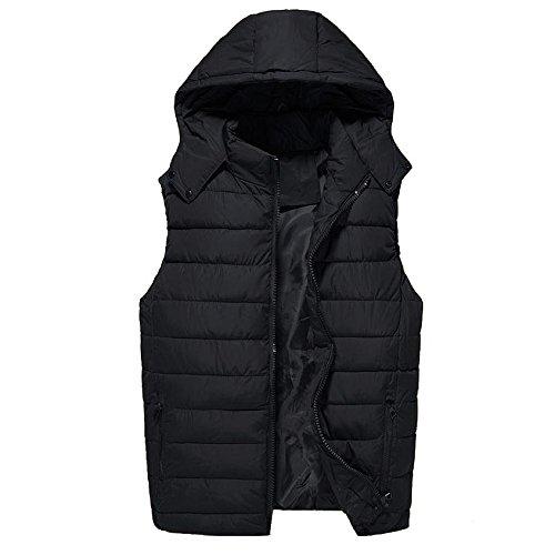SDVBDFBGS GXS Volltonfarbe Herrenbekleidung für Herbst/Winter. Dicken Lose Größe Daunendecken Baumwolle Weste. Zerlegbare Gap Weste. Ärmellose Jacke, 2XL, Black