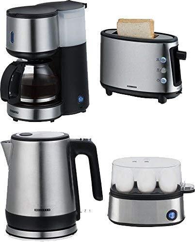 4-teiliges Frühstücks-Set Edelstahl Frühstücksset für 1-2 Personen-Haushalte 0,6 Liter Kaffeemaschine + 0,8 Liter Wasserkocher + 1-Scheiben-Toaster + Eierkocher für 3 Eier inkl. Eipicker -