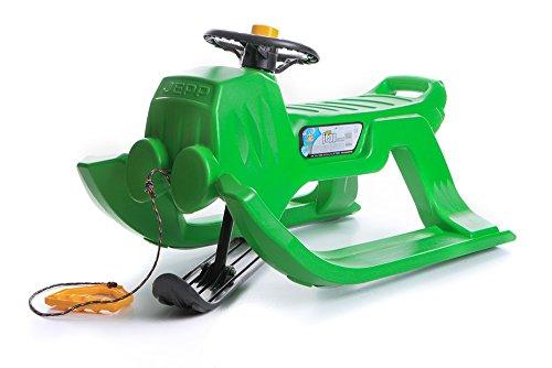 Schlitten Kinderschlitten Rodel aus Kunststoff mit Zugseil und Lenkung Jepp Control 4 Farben (Grün)