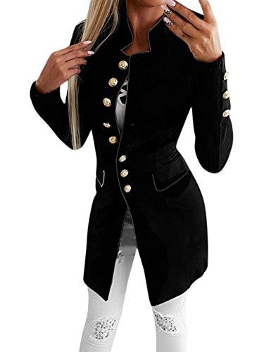 Tomwell Damen Blazer Elegant Mantel mit Knopfleiste Military Coat Lang Blazer Slim Fit Blazer Freizeit Stehkragen Business Büro Anzug Jacken Schwarz DE 40