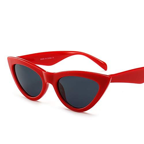 Yangjing-hl Katzenaugen-Sonnenbrille rotes Rahmengraustück