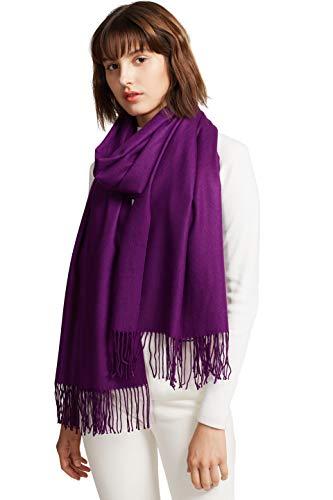 MaaMgic Schal Damen Warm Herbst unifarben Baumwolle mit quasten/fransen, 40+ Farben Einfarbig & Kariert Pashmina xl Schals Stola MEHRWEG Lila