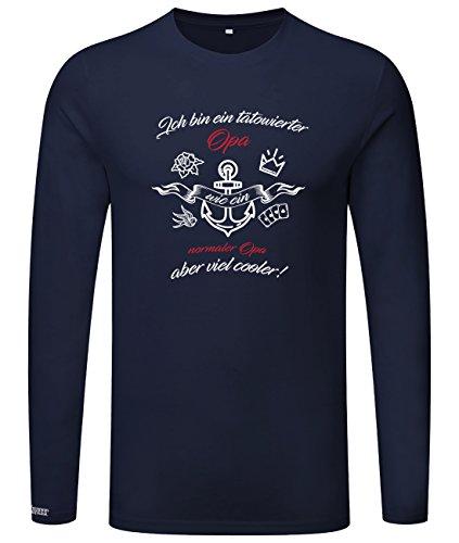 Ich bin ein tätowierter Opa - aber viel cooler - Classic - Herren Langarmshirt Navy