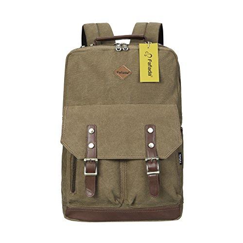 Imagen de fafada  vintage canvas moda unisex laptop  bolso para escuela acampar viajes caqui