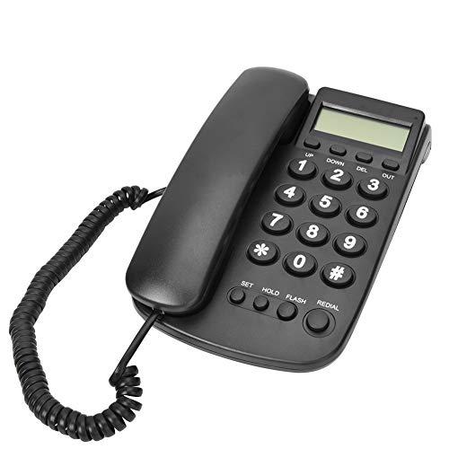 on,FSK/DTMF-Dualsystem Schnurgebundenes Schreibtisch Desktop Telefon,LCD Analog Telefon Tischtelefon mit Blitzfunktion für Hause Büro Hotel(Schwarz) ()