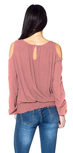 Femmes chemisier manches longues serrure épaule décolleté WT18944L_Pink Blush