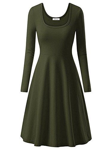 OhSeaya Damen Einfache Beiläufiges Langarm Basic Kleider Falten Stretch  Freizeitkleid Knielang BKS557-OGXL 01fdaecae7