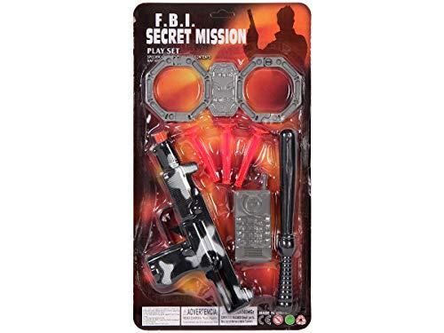 Alsino Geheimagent FBI Spielzeug Set 4-teilig Lg 2628 – mit Handschellen | Pistole | Schlagstock & Handy