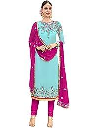 ETHNIC EMPORIUM Sky Blue Salwar Kameez Vestido de Mujer musulmán de la India Bollywood Shalwar Rakhi