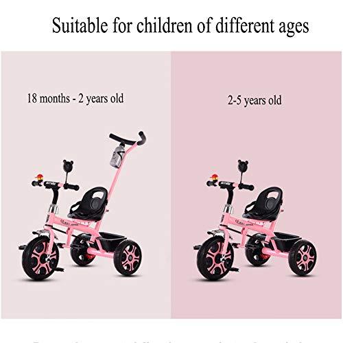 GSDZSY - Children Kids Tricycle Trike First Bike 2 In1, With Removable Push Handle Bar, Folding Footrest,EVA/Rubber Wheel, 2-6 Years,G  GSDZSY