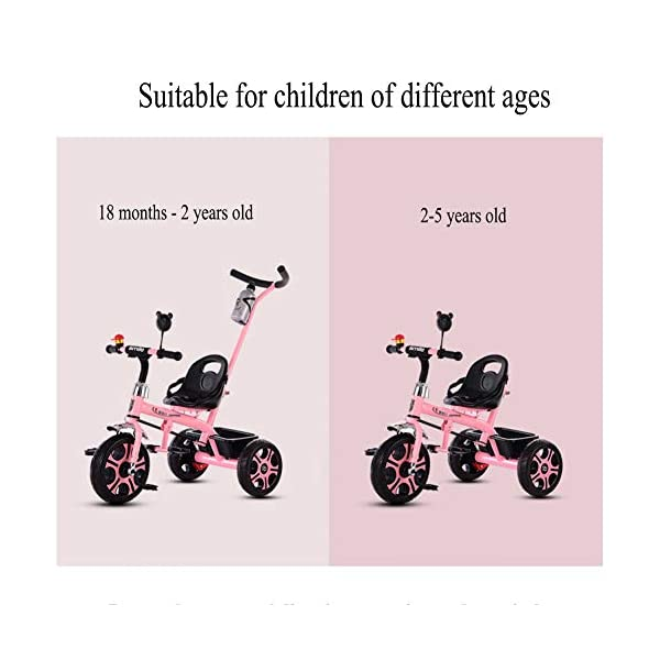 GSDZSY - Children Kids Tricycle Trike First Bike 2 In1, With Removable Push Handle Bar, Folding Footrest,EVA/Rubber Wheel, 2-6 Years,G GSDZSY  3
