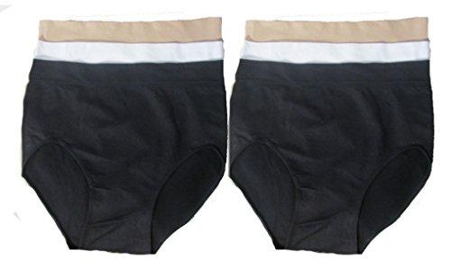 Damen Slip Unterhose Panty Mikrofaser mit Baumwolle Zwickel Schlüpfer (4XL, Schwarz Weiß Beige) (Mikrofaser Panty Bikini)