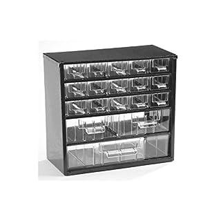 Schubladenmagazin, Schubladen glasklar - HxBxT 282 x 306 x 155 mm, Gehäuse-Traglast 30 kg - 18 Schubladen - Klarsichtmagazin Kleinteilemagazin Lagersystem Magazin Magazinschrank Schubladenmagazin Schubladenschrank Schubladensystem