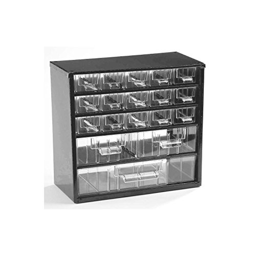 Schubladenmagazin, Schubladen glasklar - HxBxT 282 x 306 x 155 mm, Gehäuse-Traglast 30 kg - 18 Schubladen - Klarsichtmagazin Kleinteilemagazin Lagersystem Magazin Magazinschrank Schubladenmagazin Schubladenschrank Schubladensystem -