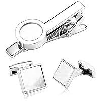 Uomo Gemelli Acciaio Inossidabile Bianco Zirconia Cubica Charm Gemelli Clip Tie Set per Uomo per AieniD - Stella Vino Charm