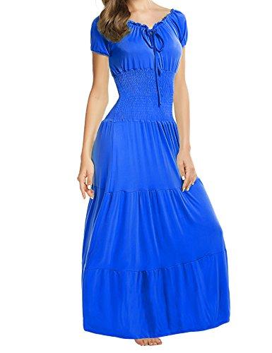 sance Maxikleid Falten Empire Kleid Stretch Tailliert Kurzarm Herbst (Lila Renaissance Kleider)