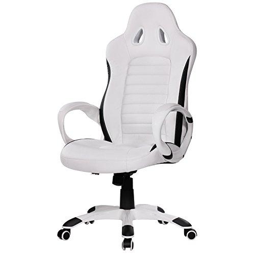 """Amstyle Design Chaise de Bureau """"Nava» Similicuir Blanc, Côtés Noirs, Design Racing"""