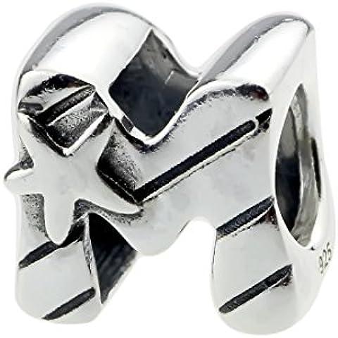 Beads Hunter - Colgante para pulsera de auténtica plata de ley 925letra del alfabeto M con una estrella de mar para la pulsera tipo
