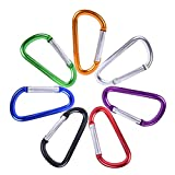 "YISHU 3"" 7 Pack Colors D Shape Spring-Loaded Gate Aluminum Carabiner for Home, RV, Camping, Fishing, Hiking, Traveling and Keychain"