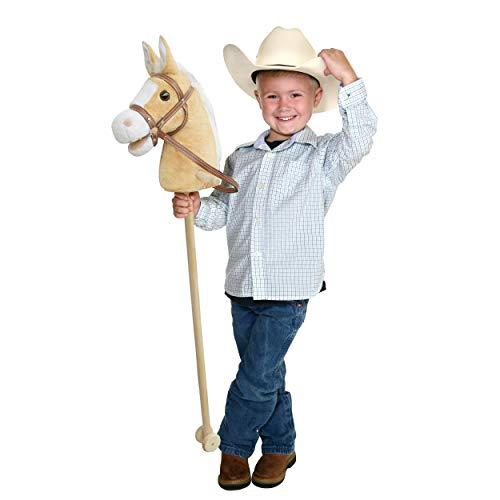 Pink Papaya caballo de juguete, Goldy, bonito caballo de juguete de peluche con sonido: Relincho y sonido de galopeo - Color: beige con melena rubia