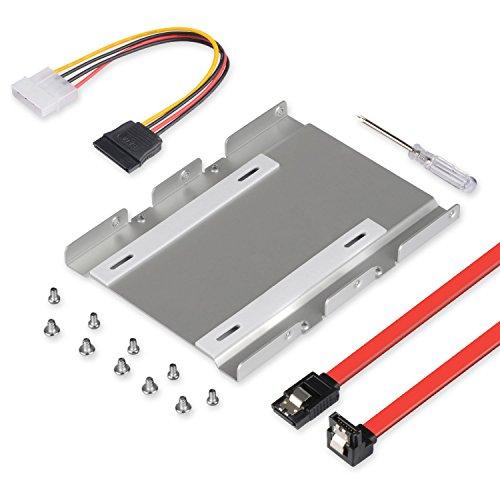 """ELUTENG Einbaurahmen Set HDD/SSD Einbaurahmen Rahmen für 2.5/3.5\"""" SATA IDE HDD/ SSD Festplatten, 2.5/3.5 auf 3.5 Aluminium Mounting Frame Halterung Alle Zubehörteile der Halterung verpackt MEHRWEG"""