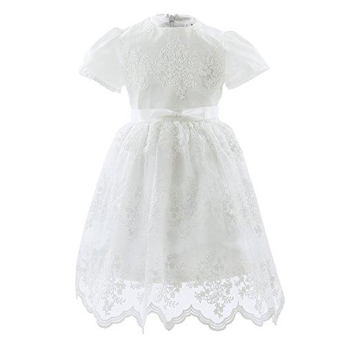 Tiaobug Baby Mädchen Kleid Taufkleid festlich Hochzeit Kommunionkleider elfenbein Blumenmädchenkleid für 68 74 80 86 92 98 elfenbein 68 (Herstellergröße: 60)