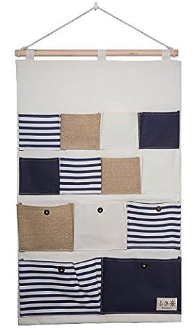 bellendo Hängeorganizer Wand, Tür | Multifunktionaler Stoff Wandorganizer Hängeaufbewahrung für Bad Wohnzimmer Kinderzimmer | 13 Beutel, blau