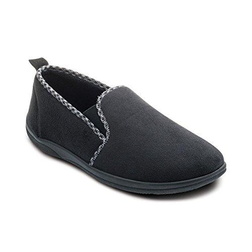 Padders Herren Microsuede Slipper 'Lewis' | Mit Vanille-eingegossenen Einlegesohlen um die Füße frisch zu halten | Breite G Passmaß Schwarz