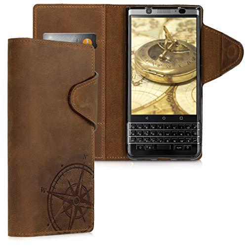 kalibri BlackBerry KEYone (Key1) Hülle - Leder Handyhülle für BlackBerry KEYone (Key1) - Handy Wallet Case Cover