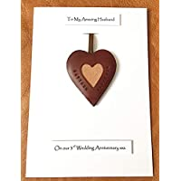 3rd Wedding Anniversary Personalised Leather Heart Leather Gift Card Husband Wife - A5 size Card
