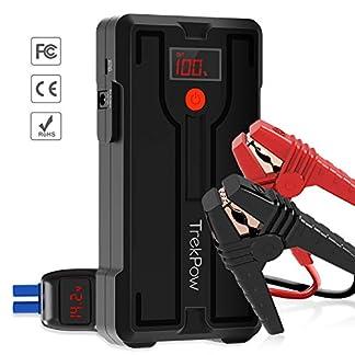 TrekPow Arrancador de Baterías de Coche G39, 1200A Arrancador de Coche 12V con Medidor LED, Puerto USB QC 3.0 y Tipo C, Pinzas Inteligentes con Pantalla LED