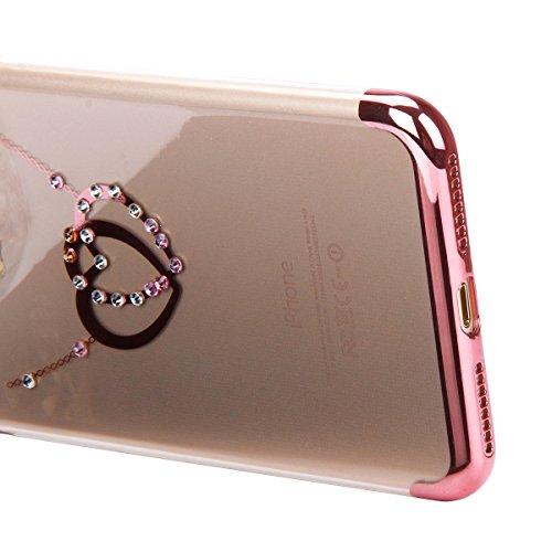 Etsue Glitzer Silikon Schutz HandyHülle für iPhone 6s/iPhone 6 Überzug TPU Hülle, Luxus Kristall Glitzer Glanz Sparkles Strass Diamant Crystal Clear Schutzhülle Silikon Bumper Anti-Scratch Handytasche Rose Gold,Herz