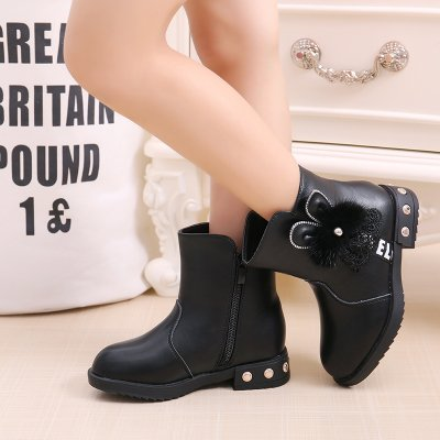 Ohmais Enfants Fille Chaussure bottes et bottines Noir